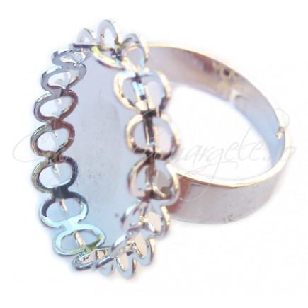 Cadru inel gri argintiu margine dantela cabochon oval 18x13mm