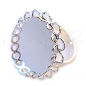 Cadru inel gri argintiu margine dantela cabochon rotund 20mm
