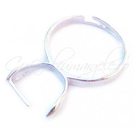 Cadru inel gri argintiu pin lateral simplu 8mm