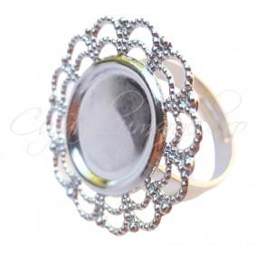 Cadru inel gri argintiu platou dantelat oval 28x24mm