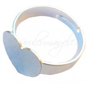 Cadru inel gri argintiu platou inima 12mm