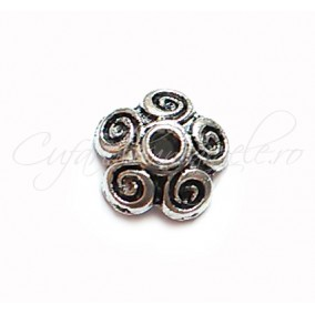 Capacele argintii 5 spirale 10x3mm