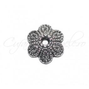 Capacele argintii 6 petale intregi 12x4mm