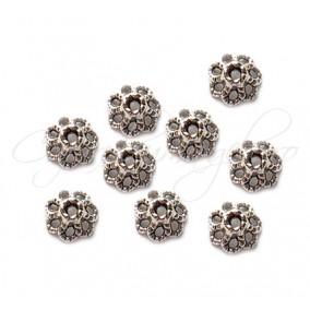 Capacele argintii 7 petale 9x4 mm (10 buc)