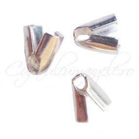 Capat snur 2mm alb argintiu gheara 7x4mm 50buc