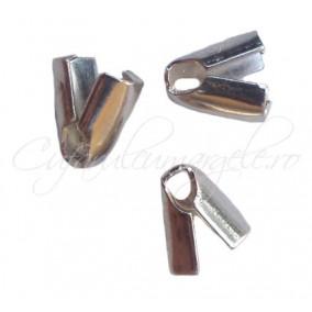 Capat snur 2mm gri argintiu gheara 7x4mm 50buc