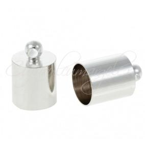Capat snur cilindru alb argintiu 11x7mm (30buc)