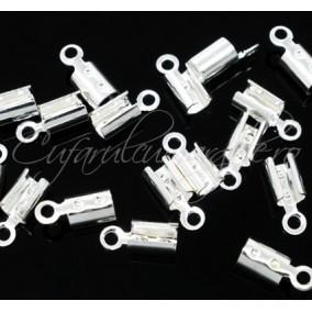 Capat snur rotund 1mm alb argintiu 8x2mm 100bucati