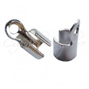 Capat snur rotund 4mm gri argintiu 10x5mm (10buc)