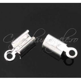 Capat snur rotund 5mm alb argintiu 12x5.5mm (10buc)