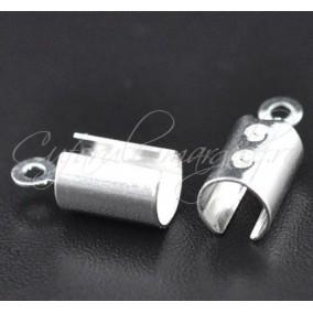 Capat snur rotund 5mm gri argintiu 13mm (10buc)