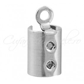 Capat snur rotund 8mm gri argintiu 16x9mm (10buc)