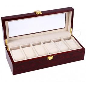 Caseta 6 ceasuri imitatie lemn 31x12x9cm