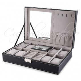 Caseta bijuterii ceas piele ecologica negru 30x20x8cm