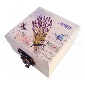 Caseta bijuterii lavender 7x7x4cm
