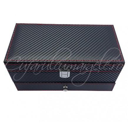 Caseta bijuterii piele ecologica neagra cu sertar 23x13x14cm