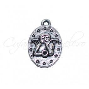 Charm argintiu amuleta ingeras 18x14 mm