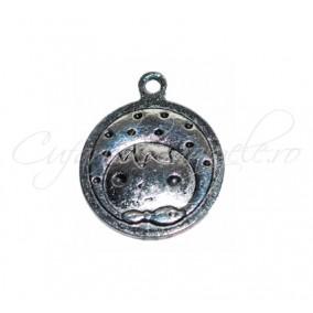 Charm argintiu cap fetita 28x24 mm