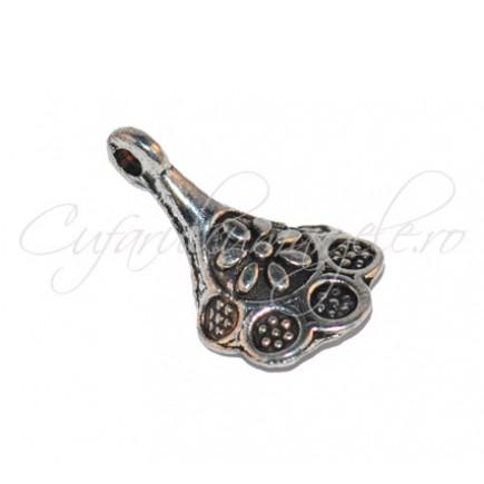 Charm argintiu cupa floare 13x10 mm
