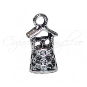Charm argintiu fantana 18x6 mm