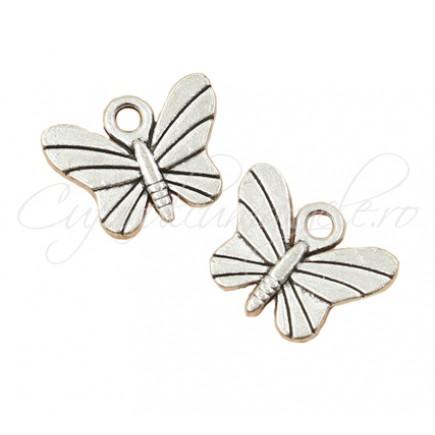 Charm argintiu fluture 15x12mm