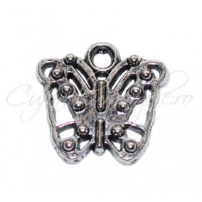 Charm argintiu fluture 15x15 mm
