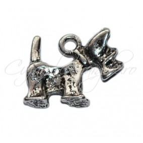 Charm argintiu fox terrier 15x14 mm