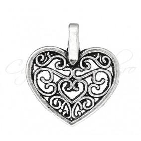 Charm argintiu inima 16x15mm