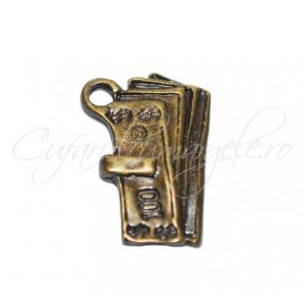 Charm bronz bancnota 100$ 19x16 mm