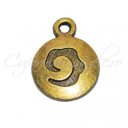 Charm bronz banut cu spirala 16x12 mm