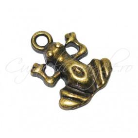 Charm bronz broasca 15x14mm