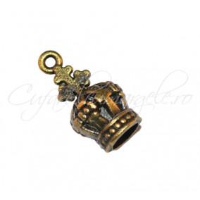 Charm bronz coroana 3D 19x10 mm