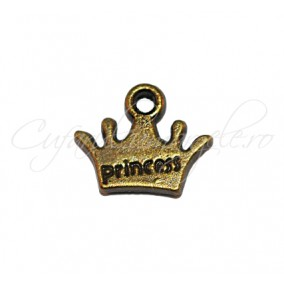 Charm bronz coroana princess 13x11 mm