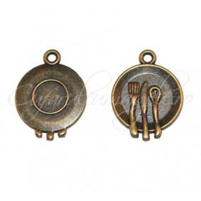 Charm bronz farfurie cu tacamuri 19x15 mm