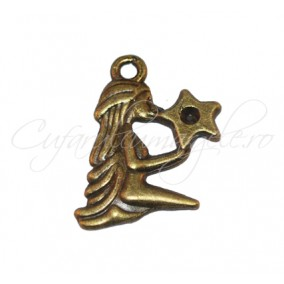 Charm bronz fata stea 24x17 mm