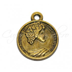 Charm bronz queen elizabeth australia 20x16 mm
