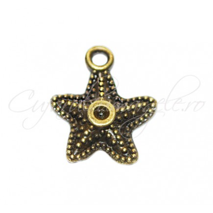 Charm bronz stea de mare 18x15 mm