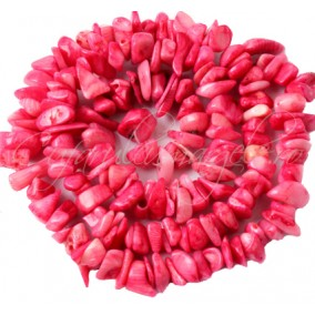 Coral roz chips 5-8mm sirag 90cm