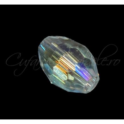 Cristal oval alb efect AB 10x8mm