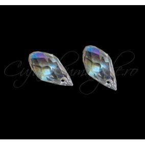 Cristale briolette alb efect AB 13x6 mm