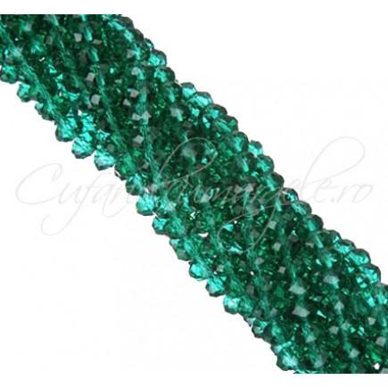 Cristale disc 6x4mm verde smarald sirag