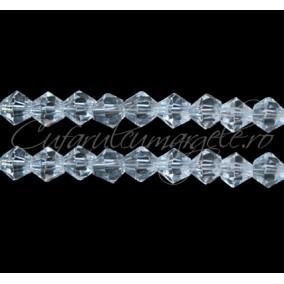 Cristale sirag biconice alb transparent 4x3 mm