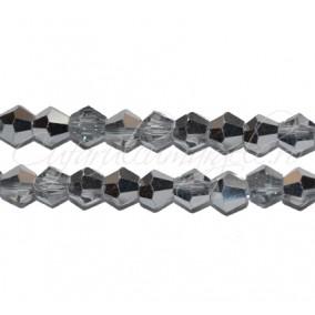 Cristale sirag biconice alb transparent cu argintiu 4x3 mm