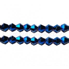 Cristale sirag biconice albastru metalizat 4x3 mm
