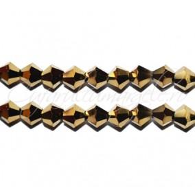 Cristale sirag biconice auriu metalizat 4x3 mm