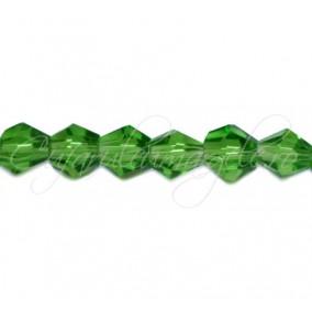 Cristale sirag biconice verde crud 4x3 mm