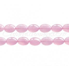 Cuart roz oval nefatetat 10x8x5 mm