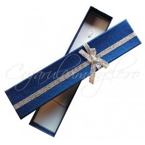 Cutie cadou bratara albastru funda argintie 20x4x2cm