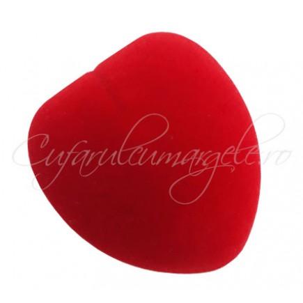 Cutie cadou catifea inima rosie inel 6x5x4cm