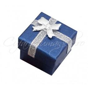 Cutie cadou inel albastru funda argintie 4x4x3cm